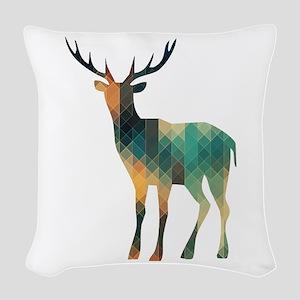 Geometric Deer Woven Throw Pillow