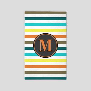 Chic Bold Stripes Custom Monogram Area Rug