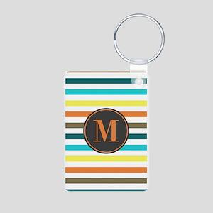 Chic Bold Stripes Custom M Aluminum Photo Keychain