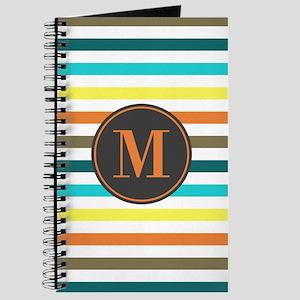 Chic Bold Stripes Custom Monogram Journal