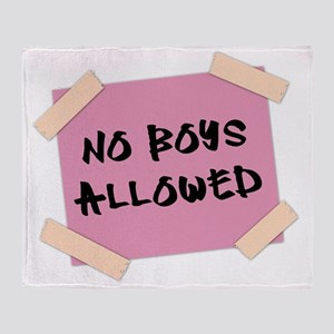 No Boys Allowed Sign Throw Blanket