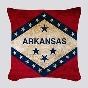 Vintage Flag of Arkansas Woven Throw Pillow