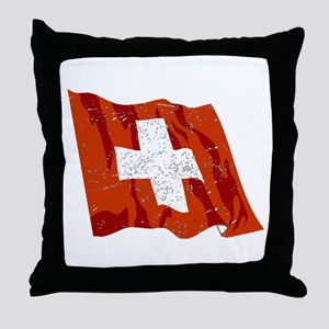 Switzerland Flag (Distressed) Throw Pillow
