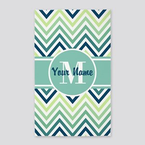 Aqua and Blue Chevron Custom Monogram Area Rug