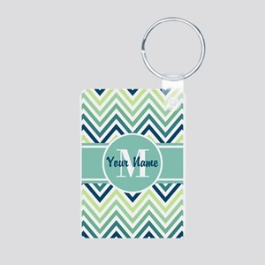 Aqua and Blue Chevron Cust Aluminum Photo Keychain