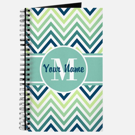 Aqua and Blue Chevron Custom Monogram Journal