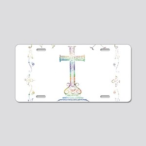 Watercolor Cross Aluminum License Plate