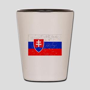 Slovakia Flag (Distressed) Shot Glass