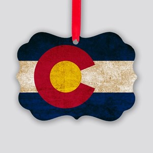 Vintage Flag of Colorado Picture Ornament