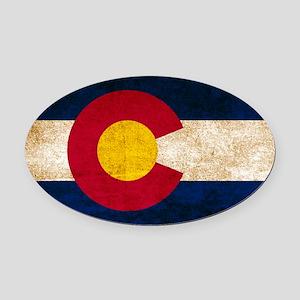 Vintage Flag of Colorado Oval Car Magnet