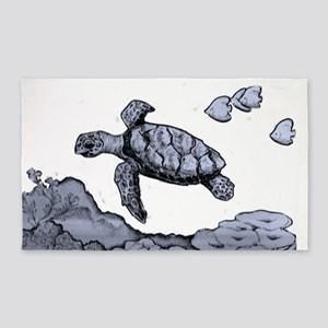 Blue Sea Turtle Sketch Area Rug
