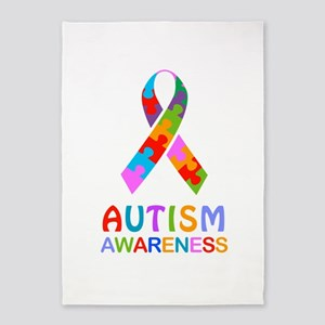 Autism Awareness Ribbon 5'x7'Area Rug