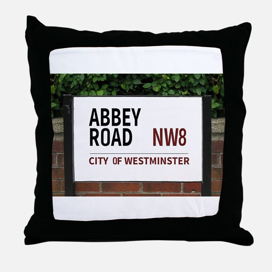 Abbey Road street sign Throw Pillow
