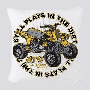 Plays in the Dirt ATV Woven Throw Pillow