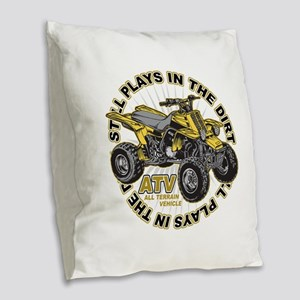 Plays in the Dirt ATV Burlap Throw Pillow