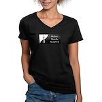 MTtS_UK Logo Women's V-Neck Dark T-Shirt