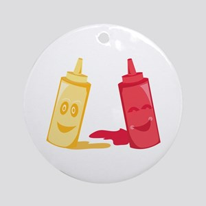 Ketchup & Mustard Ornament (Round)