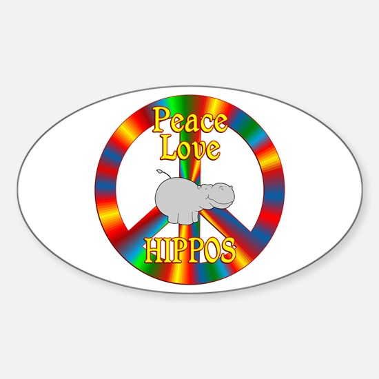 Peace Love Hippos Sticker (Oval)