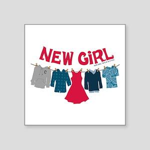 "New Girl Laundry Square Sticker 3"" x 3"""