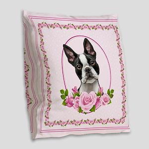 Boston Pink Roses Burlap Throw Pillow