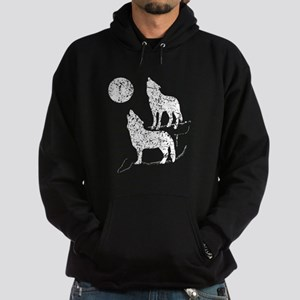 Distressed Coyotes Howling Silhouette Hoodie