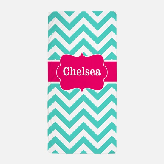 Teal Pink Chevron Personalized Beach Towel