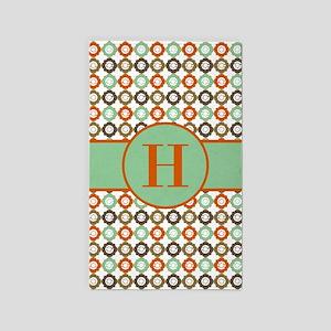 Orange Mint Quatrefoil Custom Monogram Area Rug