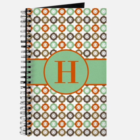 Orange Mint Quatrefoil Custom Monogram Journal