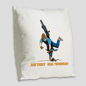 Ride Today Biking Burlap Throw Pillow