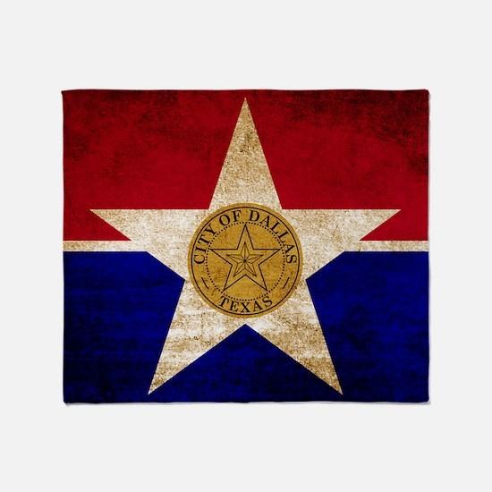 Vintage Flag of Dallas Texas Throw Blanket
