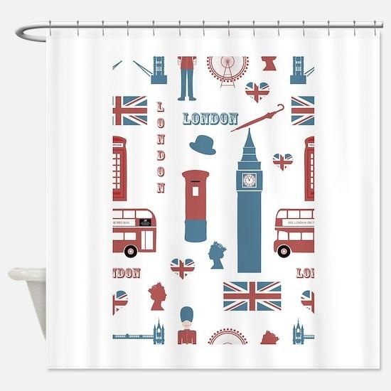London Montage Shower Curtain