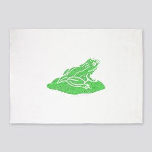 Distressed Green Frog On Lilypad 5'x7'Area Rug