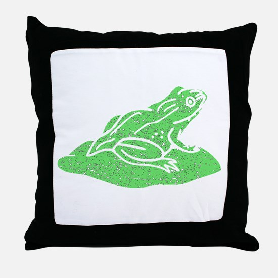 Distressed Green Frog On Lilypad Throw Pillow
