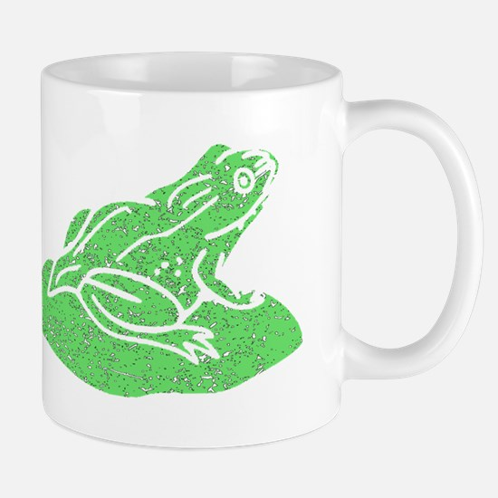 Distressed Green Frog On Lilypad Mugs