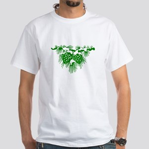 Green Pinecones White T-Shirt