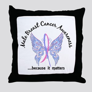 Male Breast Cancer Butterfly 6.1 Throw Pillow
