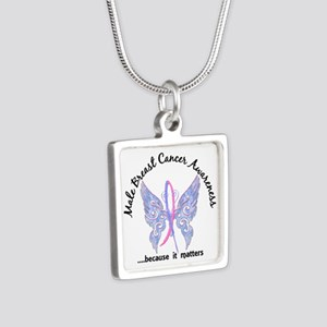 Male Breast Cancer Butterf Silver Square Necklace