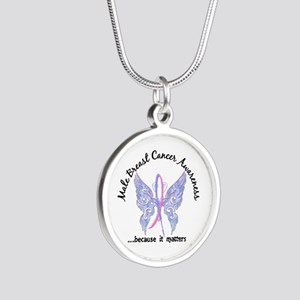 Male Breast Cancer Butterfly Silver Round Necklace