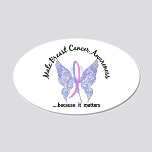 Male Breast Cancer Butterfly 20x12 Oval Wall Decal
