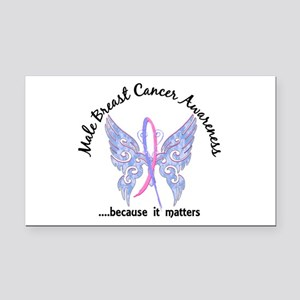 Male Breast Cancer Butterfly Rectangle Car Magnet