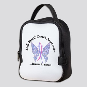 Male Breast Cancer Butterfly 6. Neoprene Lunch Bag