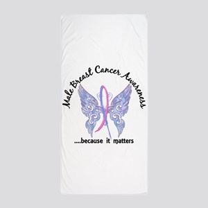 Male Breast Cancer Butterfly 6.1 Beach Towel