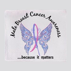 Male Breast Cancer Butterfly 6.1 Throw Blanket