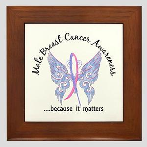 Male Breast Cancer Butterfly 6.1 Framed Tile