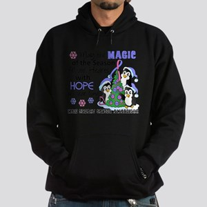 Holiday Penguins Male Breast Cancer Hoodie (dark)