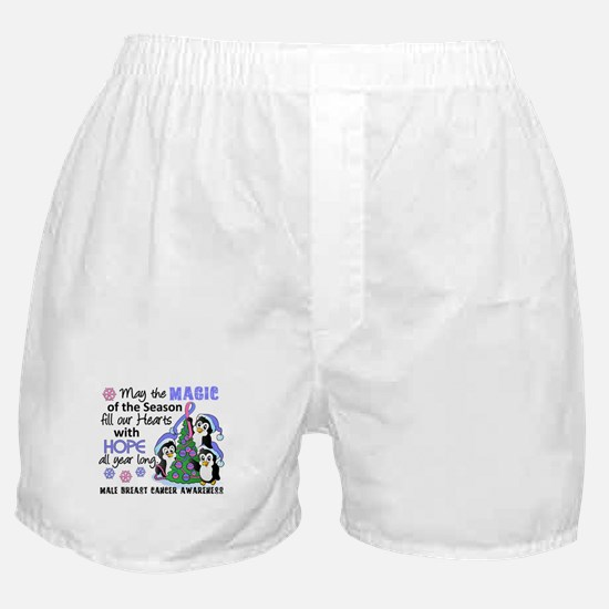 Holiday Penguins Male Breast Cancer Boxer Shorts