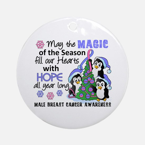 Holiday Penguins Male Breast Cancer Ornament (Roun