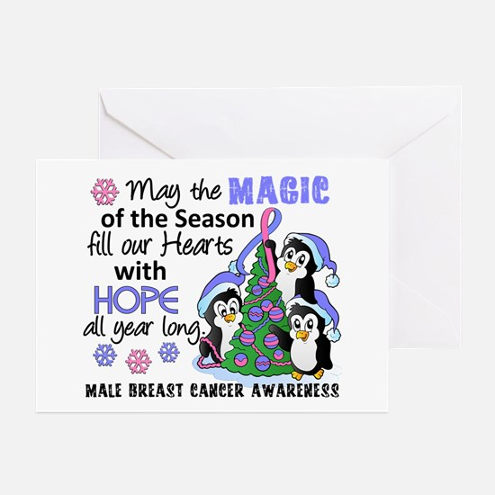 Holiday Penguins Male Breast Cancer Greeting Cards