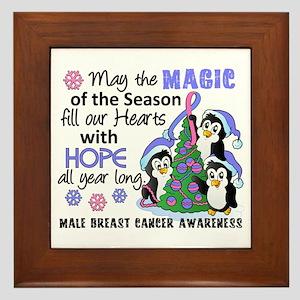 Holiday Penguins Male Breast Cancer Framed Tile