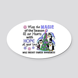 Holiday Penguins Male Breast Cancer Oval Car Magne